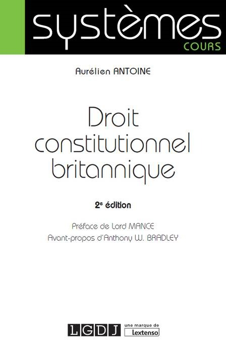 DROIT CONSTITUTIONNEL BRITANNIQUE 2EME EDITION
