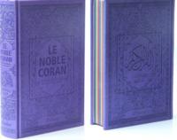 NOBLE CORAN AVEC PAGES ARC-EN-CIEL (RAINBOW) - BILINGUE (FR/AR) - COUVERTURE DAIM VIOLET