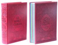NOBLE CORAN AVEC PAGES ARC-EN-CIEL (RAINBOW) - BILINGUE (FR/AR) - COUVERTURE DAIM BORDEAUX