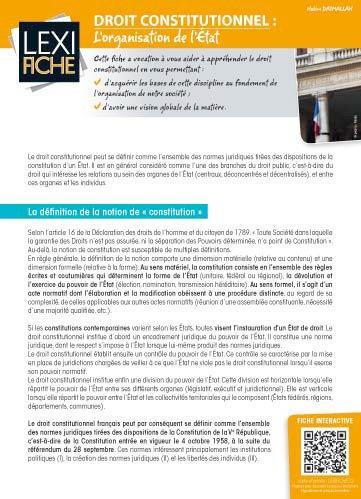DROIT CONSTITUTIONNEL - L'ORGANISATION DE L'ETAT