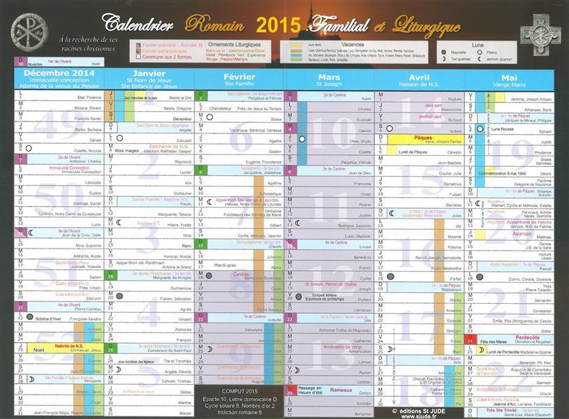 CALENDRIER ROMAIN LITURGIQUE ET FAMILIAL 2015 A3