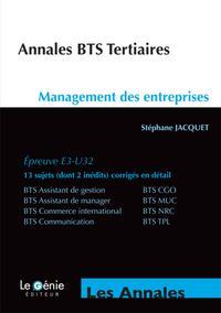 ANNALES BTS TERTIAIRES MANAGEMENT DES ENTREPRISES