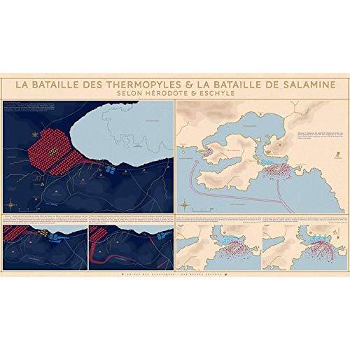 POSTER LA BATAILLE DES THERMOPYLES ET LA BATAILLE DE SALAMINE - LA VIE DES CLASSIQUES - SELON HERODO