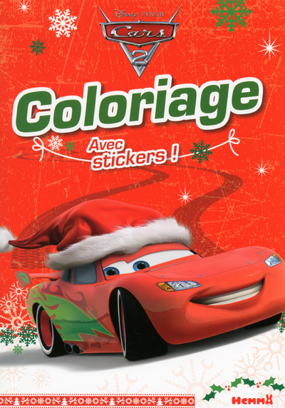 CARS 2 COLORIAGE AVEC STICKERS (NOEL FOND ROUGE)