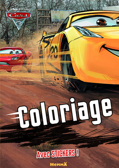 CARS 3 - COLORIAGE AVEC STICKERS (FOND FORET)