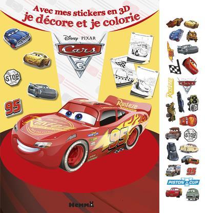 CARS 3 AVEC MES STICKERS EN 3D JE DECORE ET JE COLORIE