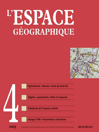 ESPACE GEOGRAPHIQUE N4 2003