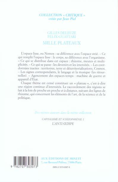 1000 PLATEAUX CAPITALISME ET SCHIZOPHRENIE 1