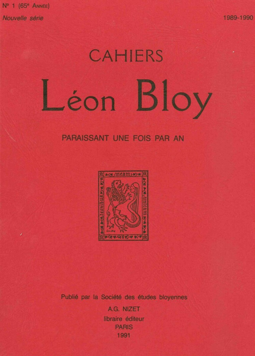 CAHIERS LEON BLOY T1/1991