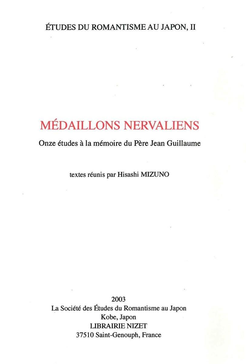 MEDAILLONS NERVALIENS/QUINZE ETUDES