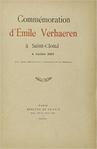 COMMEMORATION D'EMILE VERHAEREN A SAINT-CLOUD, 4 JUILLET 1931