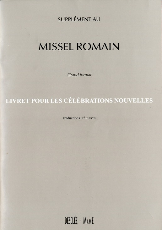 SUPPLEMENT AU MISSEL ROMAIN GRAND FORMAT