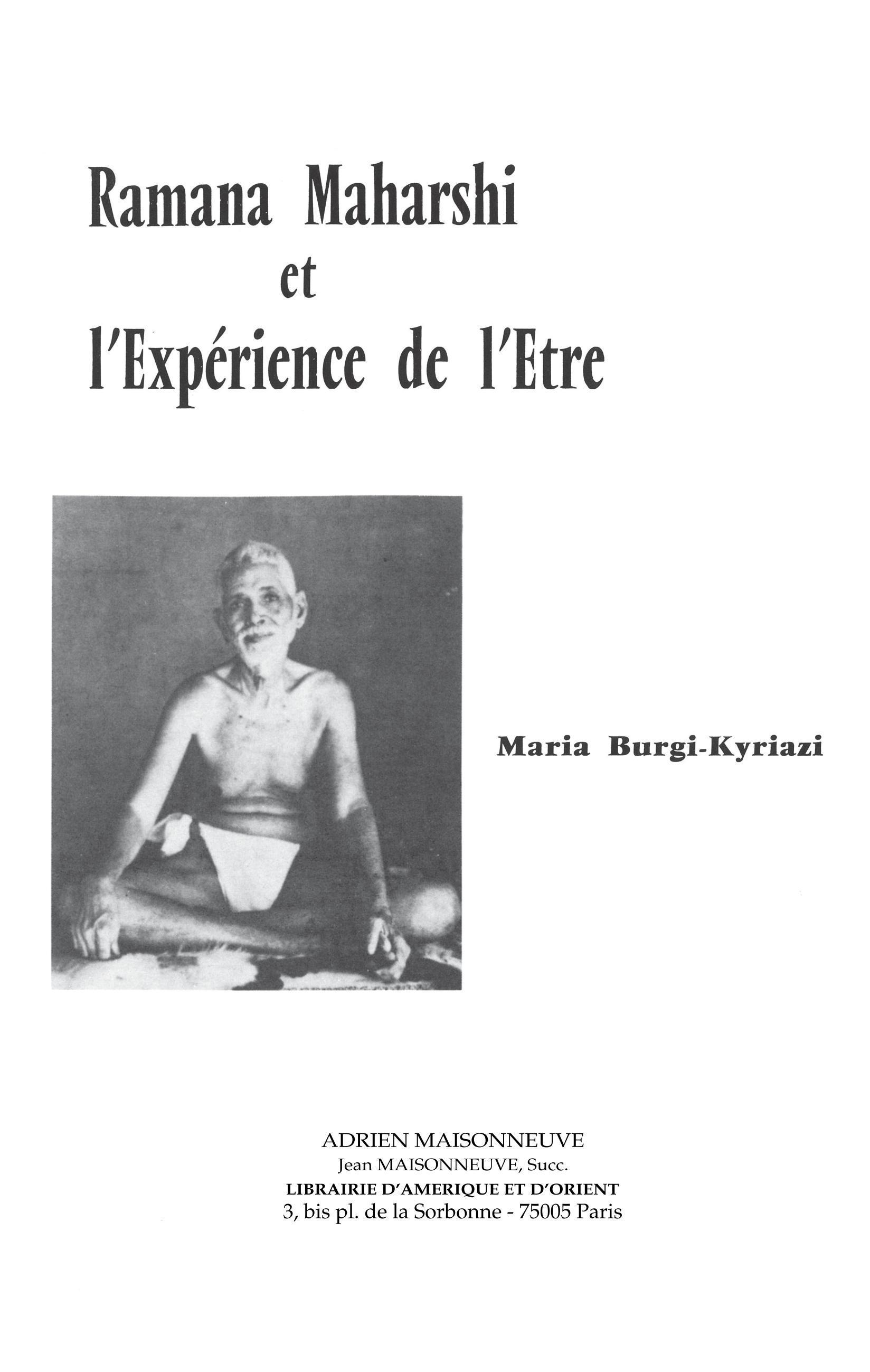 RAMANA MAHARSHI ET L'EXPERIENCE DE L'ETRE