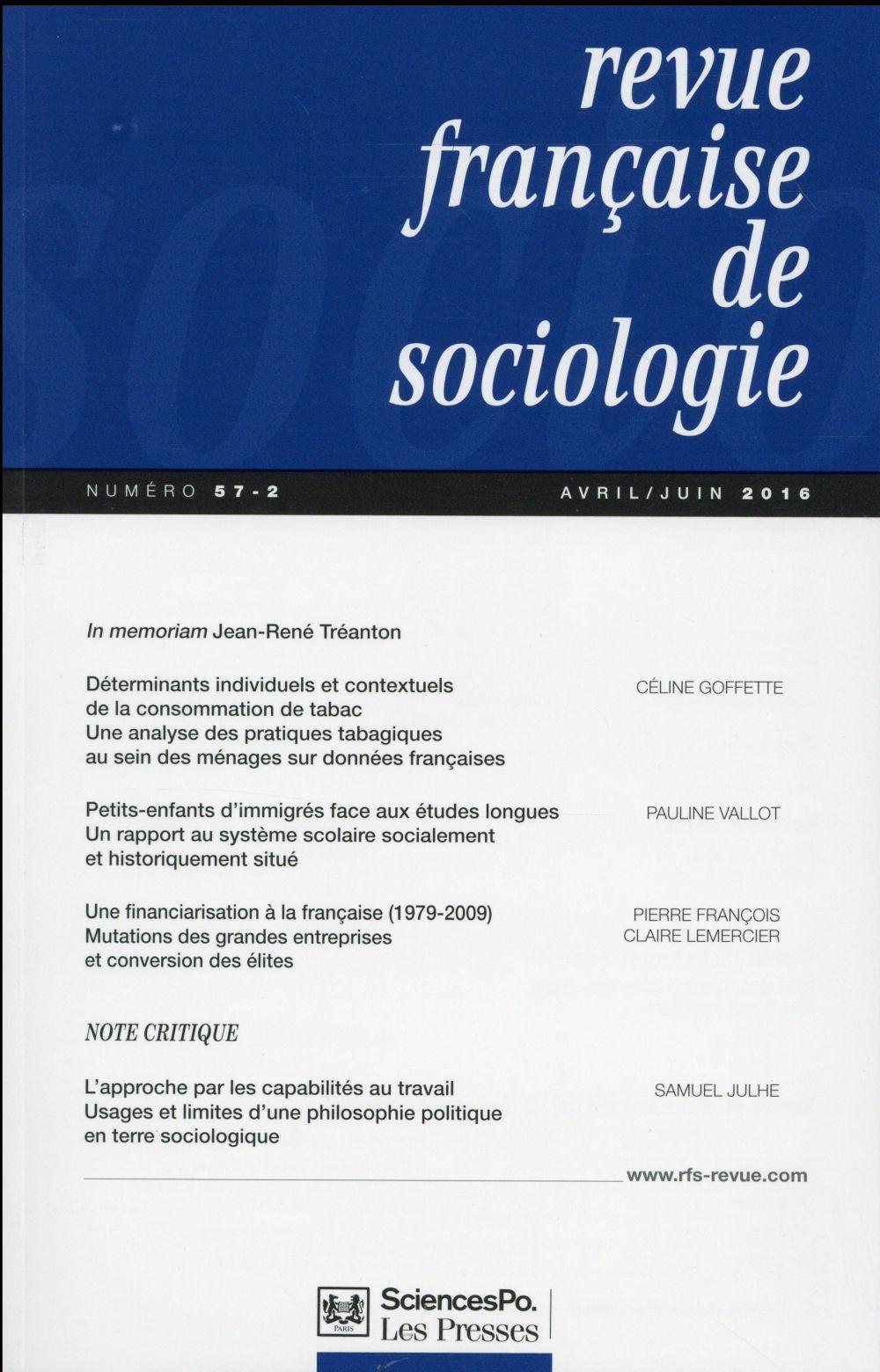 REVUE FRANCAISE DE SOCIOLOGIE 57 T2