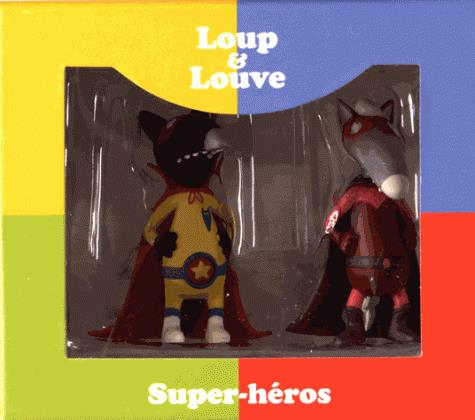 FIGURINES DUO LOUP SUPER-HEROS ET LOUVE SUPER-HEROINE.