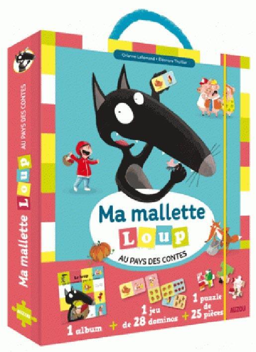 MA MALLETTE LOUP AU PAYS DES CONTES - 1 ALBUM + 1 JEU DE 28 DOMINOS + 1 PUZZLE DE 25 PIECES