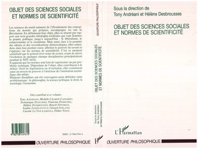 OBJET DES SCIENCES SOCIALESET NORMES DE SCIENTIFICITE