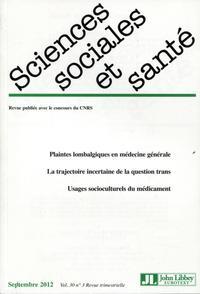 REVUE SCIENCES SOCIALES ET SANTE - VOL 30 NO3 SEPTEMBRE 2012 - PLAINTES LOBALGIQUES EN MEDECINE GENE