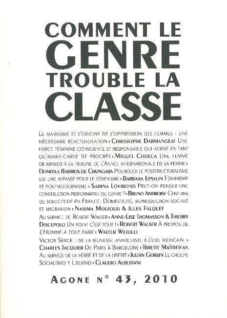 AGONE 43-2010 COMMENT LE GENRE TROUBLE LA CLASSE