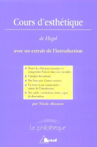 COURS D ESTHETIQUE (HEGEL)
