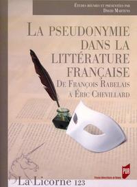 LA PSEUDONYMIE DANS LA LITTERATURE FRANCAISE