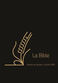 BIBLE SEMEUR COUVERTURE CUIR NOIRE TRANCHE DOREE ONGLETS