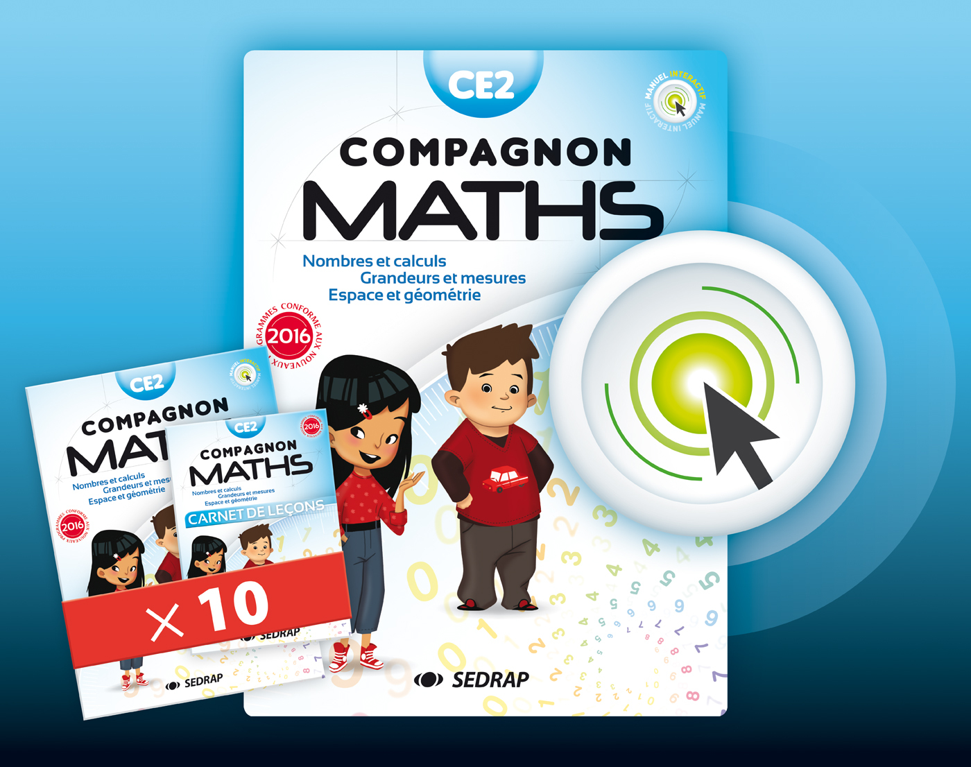 COMPAGNON MATHS CE2 - LOT 10 MANUELS + VERSION NUMERIQUE INTERACTIVE ED 2017