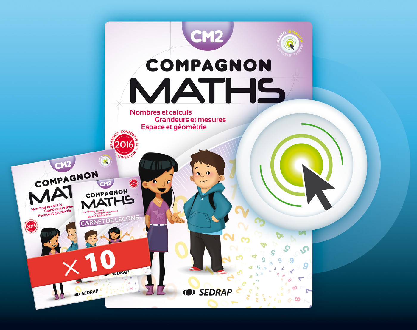 COMPAGNON MATHS CM2 - LOT 10 MANUELS + VERSION NUMERIQUE INTERACTIVE ED 2017