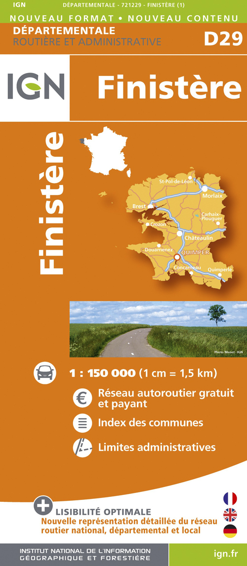 D29 FINISTERE  1/150.000
