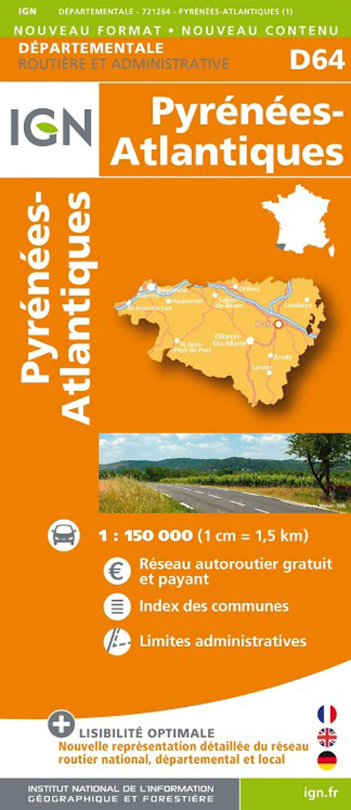 AED D64 PYRENEES-ATLANTIQUES  1/150.000