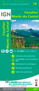 TOP75016 CEZALLIER/MONTS DU CANTAL  1/75.000