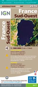 OACI947 FRANCE SUD-OUEST PLASTIFIEE 2016  1/500.000