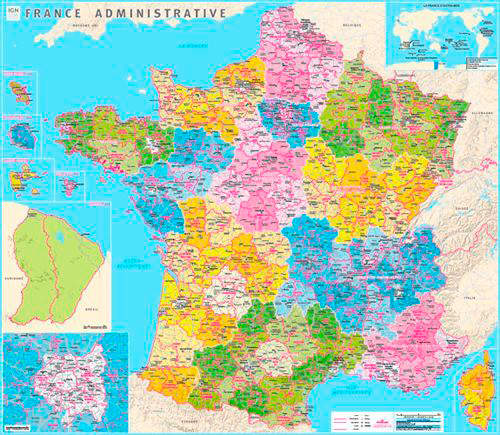 70049 FRANCE ADMINISTRATIVE PLASTIFIEE  1/1M  100X115 CM