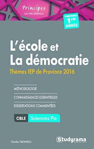 ECOLE ET LA DEMOCRATIE THEMES IEP PROVINCE 2016