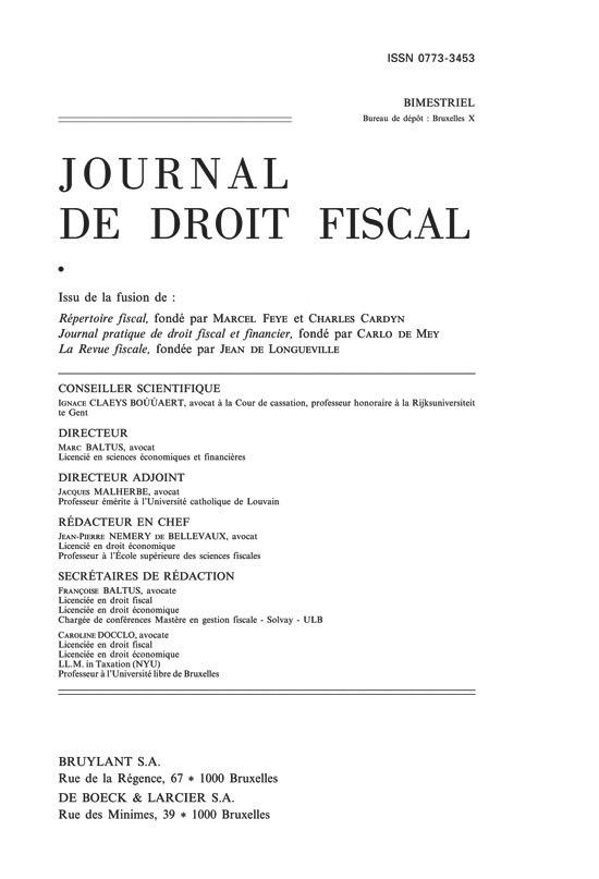 JOURNAL DE DROIT FISCAL 2013/1-2