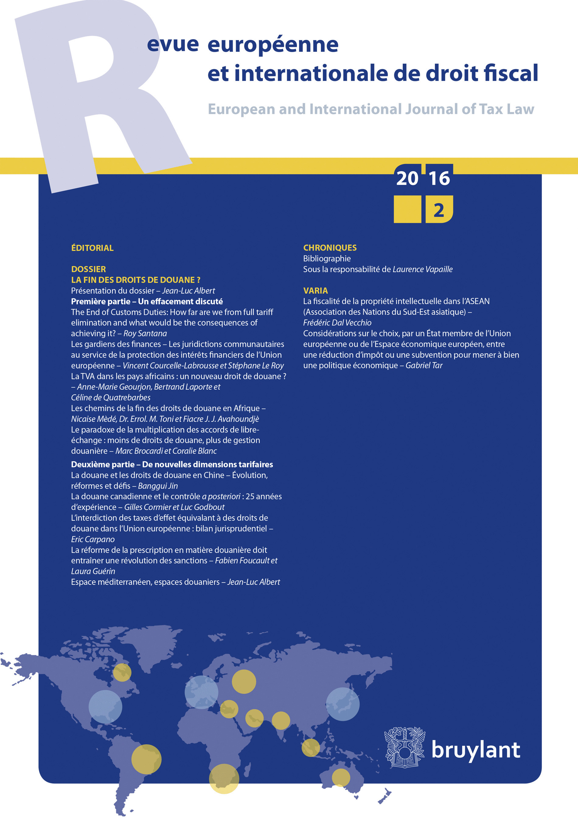 REVUE EUROPEENNE  ET INTERNATIONALE DE DROIT FISCAL 2016/2