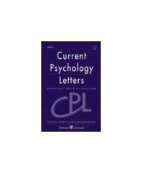 CURRENT PSYCHOLOGY LETTERS 2000/1 N.1