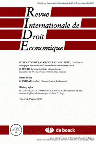 REVUE INTERNATIONALE DE DROIT ECONOMIQUE 2005/4