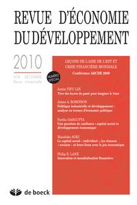 REVUE D'ECONOMIE DU DEVELOPPEMENT 2010/4