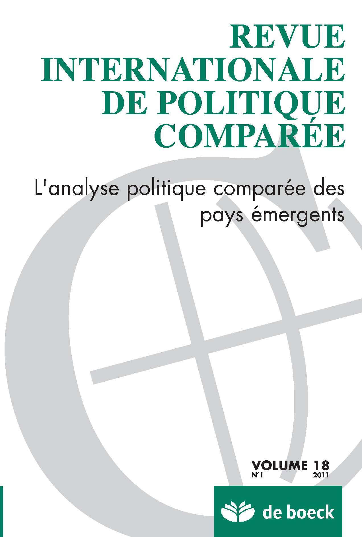 REVUE INTERNATIONALE DE POLITIQUE COMPAREE 2011/1