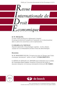 REVUE INTERNATIONALE DE DROIT ECONOMIQUE 2014/1