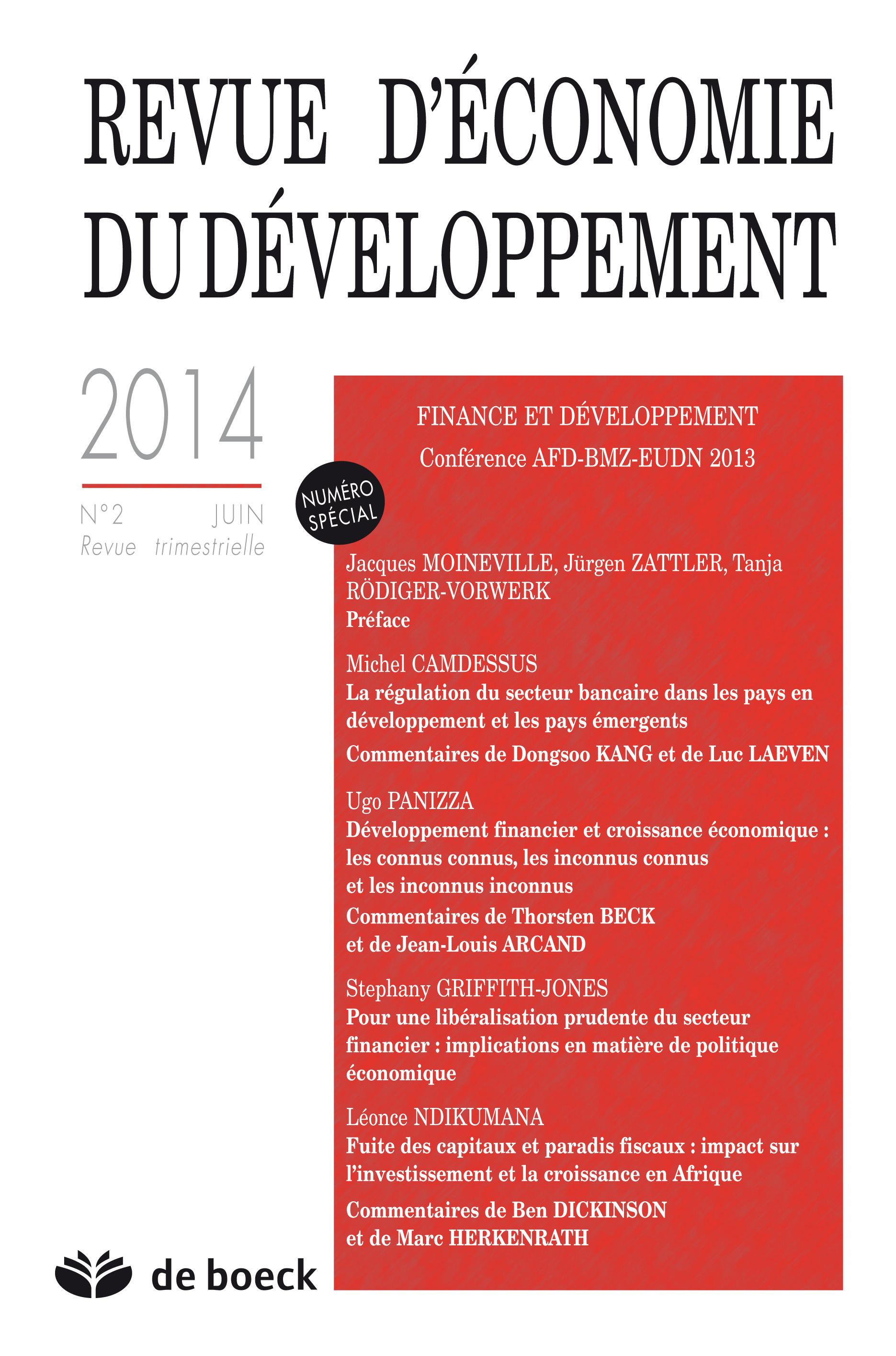 REVUE D'ECONOMIE DU DEVELOPPEMENT 2014/2