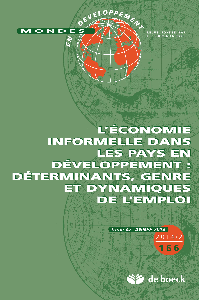 MONDES EN DEVELOPPEMENT 2014/2 N.166 ECONOMIE INFORMELLE PAYS EN DEVELOPPEMENT
