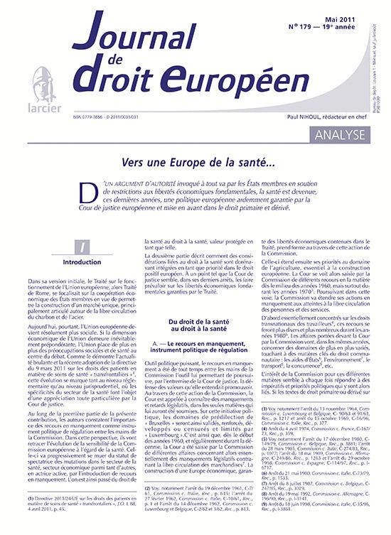 JOURNAL TRIBUNAUX-DR.EUROPEEN N.11/5-179