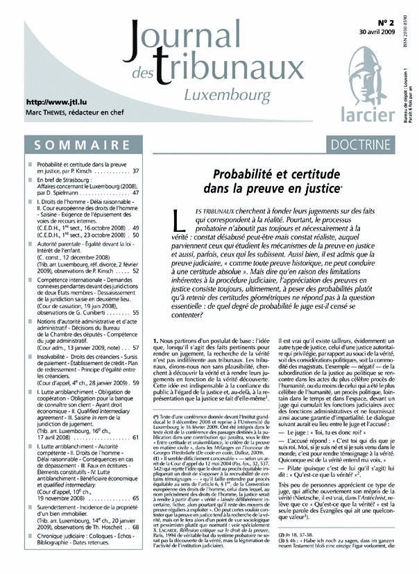 JOURNAL DES TRIBUNAUX LUXEMBOURG 2013/2