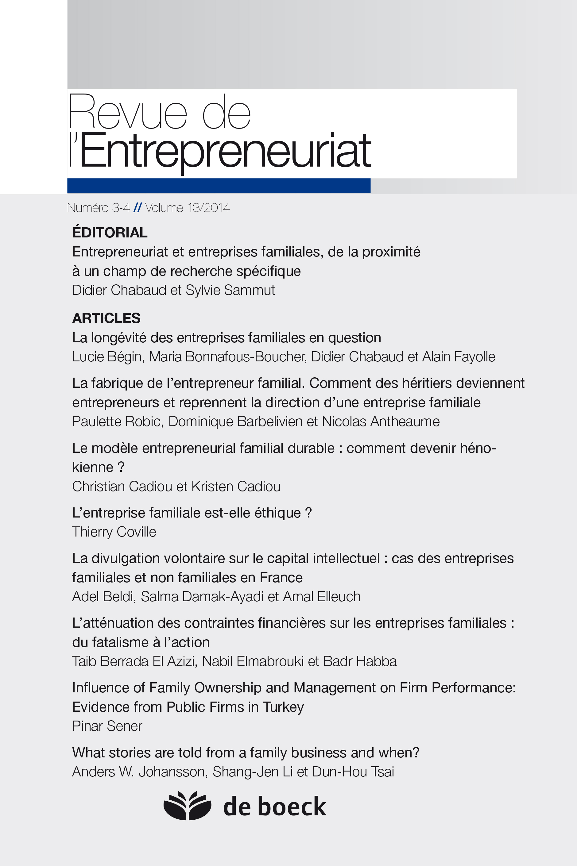 REVUE DE L'ENTREPRENEURIAT N.3-4 VOLUME 13/2014