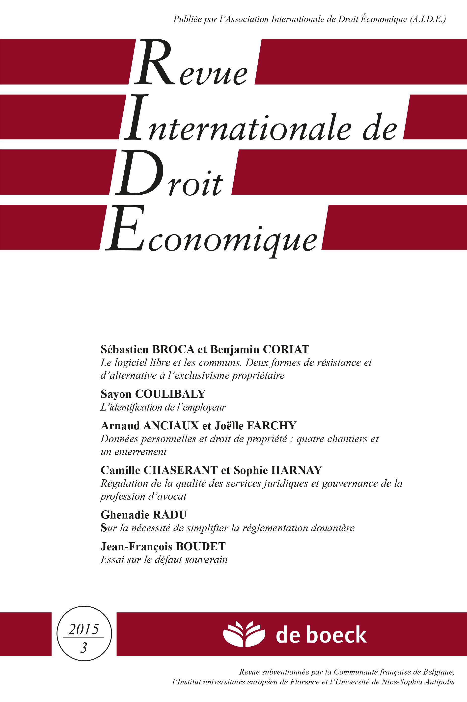 REVUE INTERNATIONALE DE DROIT ECONOMIQUE N.3 2015