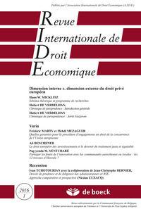 REVUE INTERNATIONALE DE DROIT ECONOMIQUE 2016/1 - DIMENSION INTERNE C. DIMENSION EXTERNE DU DROIT PR