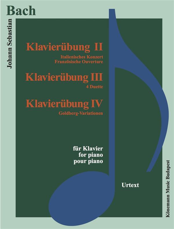 PARTITION - BACH - KLAVIERUBUNG II-IV - EXERCICES POUR PIANO - CONCERTO ITALIEN, OUVERTURE FRANCAISE