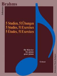 PARTITION - BRAHMS - 5 ETUDES 51 EXERCICES - POUR PIANO